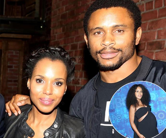 In October, Kerry Washington, famous for her role as Olivia Pope on TV's *Scandal*, welcomed her second child Caleb Kelechi Asomugha into the world with husband Nnamdi Asomugha.