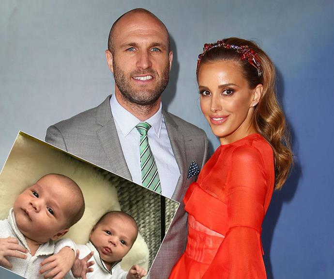 On Thursday, September, 29, Rebecca and Chris Judd finally met their adorable twin boys Tom Andrew Judd and Darcy Hugh Judd, who arrived via emergency C-section at 12:43pm and 12:44pm.