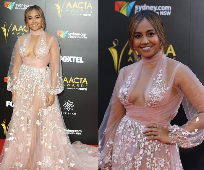 Jessica Mauboy made a very glamorous entrance in this sheer pink frock. But moments later, the singer was left startled when a group of protesters stormed the red carpet. **Watch the dramatic moment unfold in the next slide. Gallery continues after the video.**