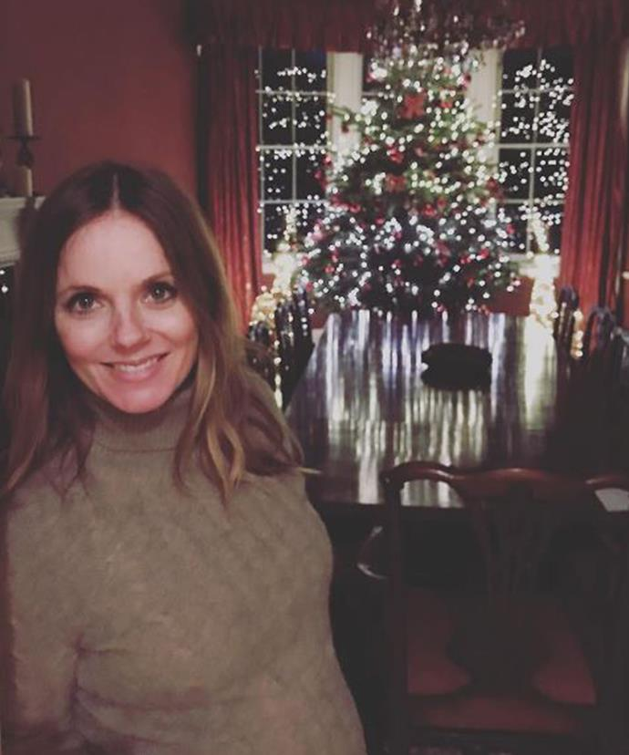 Geri Horner, and her gorgeous baby, look a vision in this sweet, Christmas season snap.