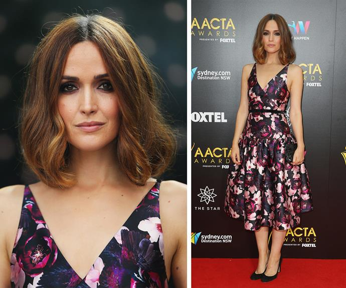 Pretty as a Rose! Miss Byrne packed a punch of glam in this floral Romance Was Born dress.