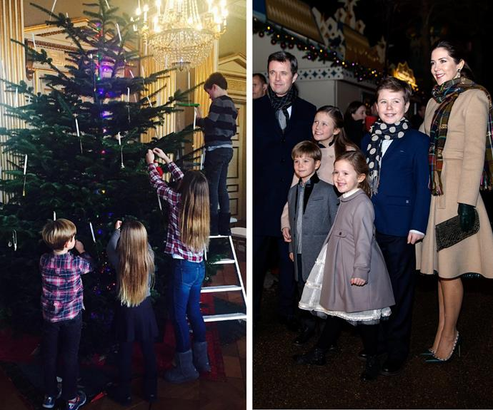 The Danish Royals have given us a very rare peek into their Christmas household with this utterly adorable snap of Princess Mary and Prince Frederik's four kids, Prince Christian, Princess Isabella, Prince Vincent and Princess Josephine, working as team to decorate the festive tree.