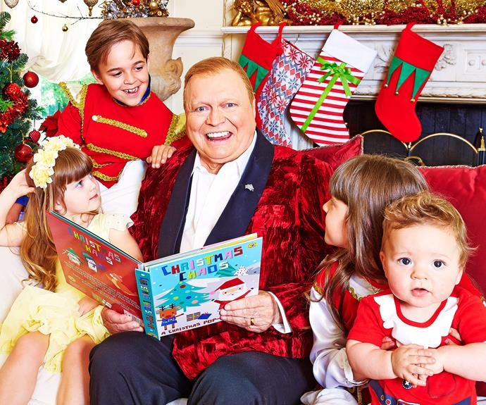 Bert reads to his little ones, Lauren's four kids Sam, eight, Eva, seven, Lola, four, and nine-month-old Monty.