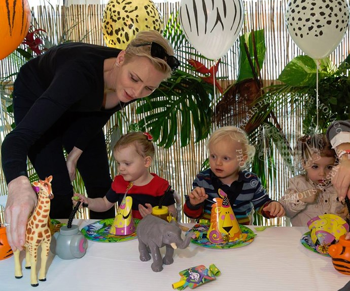 The proud parents threw their twins  Prince Jacques and Princess Gabriella a safari-themed second birthday bash at the Société Nautique de Monaco sports club.