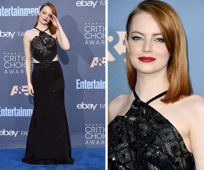 We're going la la over Emma Stone's embellished black frock. And let's take a moment for those Va Va Voom lips!