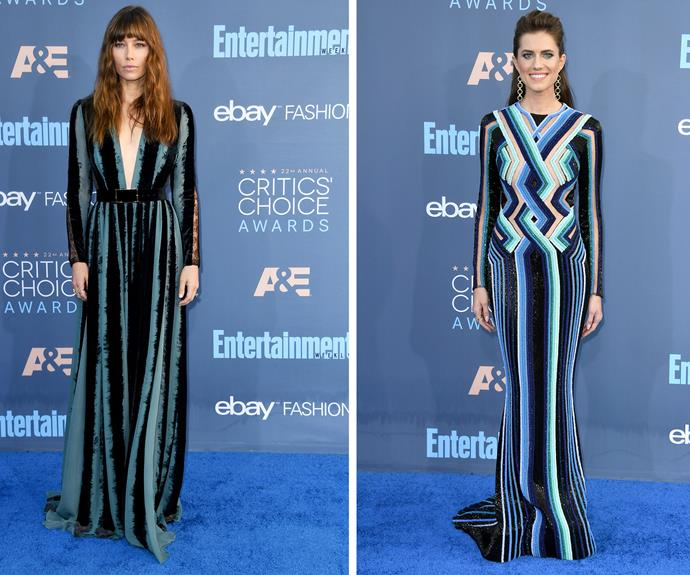 We're seeing stripes! Jessica Biel and  Allison Williams were twinning with their red carpet fashion.