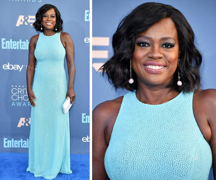 Critics Choice is all about blue and Viola Davis definitely got memo! The actress was radiant in a shade of sky blue.