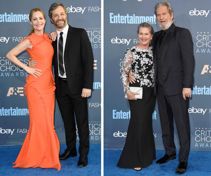 Leslie Mann and hubby Judd Apatow strike a pose while Jeff Bridges was joined by his other half, Susan Geston.