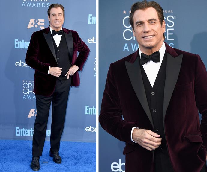 John Travolta kept things dapper in a velvet tux.