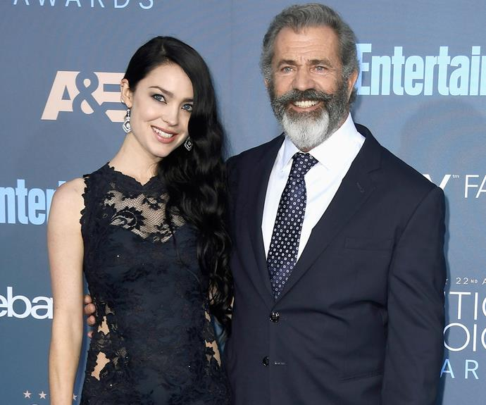 Mel Gibson and his pregnant girlfriend Rosalind Ross, 26, flashed their best smiles.