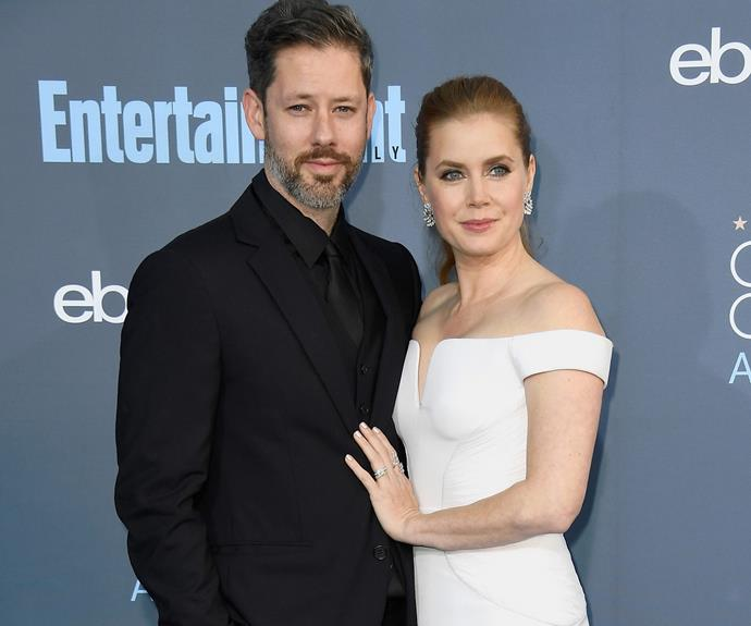 Amy Adams and husband Darren Le Gallo worked black and white ensembles.
