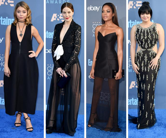 Sarah Hyland, Ruth Wilson, Naomie Harris and Ariel Winter are worked stunning black dresses.