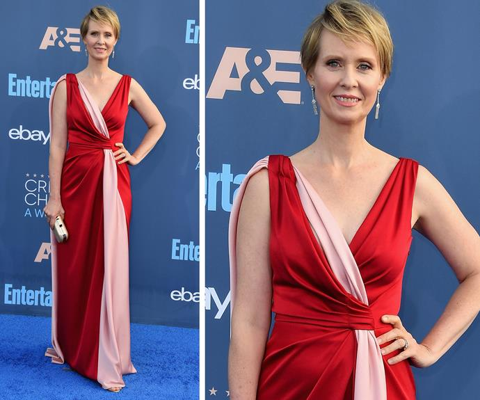 Cynthia Nixon stunned in a pink and red wrap dress.