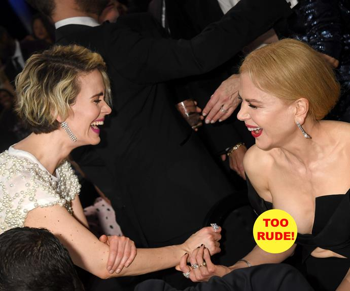 Whoops! Nic was laughing so much with Sarah Paulson she suffered a wardrobe malfunction.