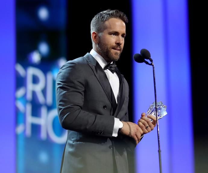Our hearts can't take it! Ryan Reynolds won the Entertainer of the Year Award for *Deadpool* and he dedicated his award to the Make A Wish foundation and sick children.