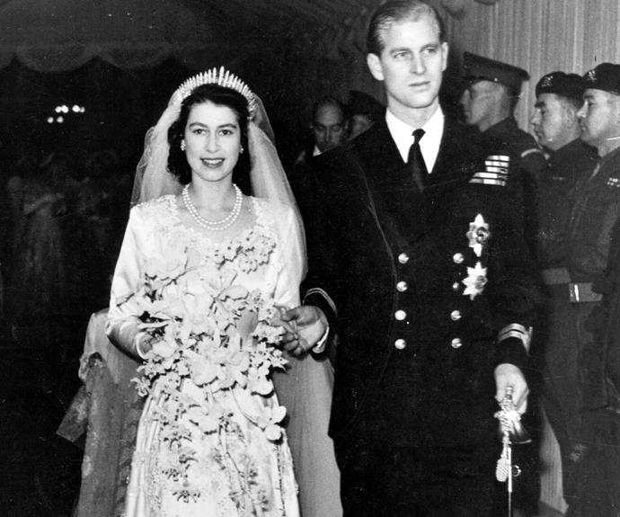 A then-Princess Elizabeth at her 1947 nuptials to Prince Philip.