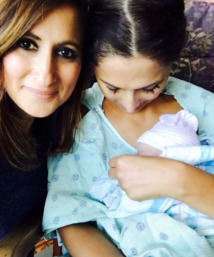 Sally and her sister Maha Koraiem share a precious moment with Elyssa Rose.