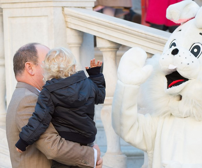 Unlike his sister, Princess Gabriella, Jacques seems unperturbed by the large white rabbit.