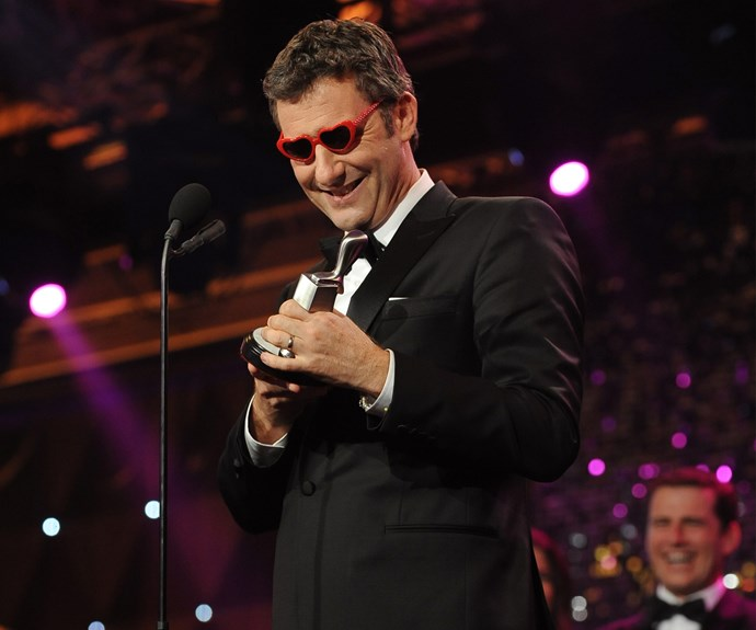 "Not only did Adam Hills win the Silver Logie for Most Popular Presenter at the 2012 Logies, he also won cutest Dad award when he donned his two-year-old daughter's heart-shaped glasses. ""If Daddy wins an award, he's going to put on your sunglasses, so… thank you, Bunny, I love you very very much"" he said. Awww!"