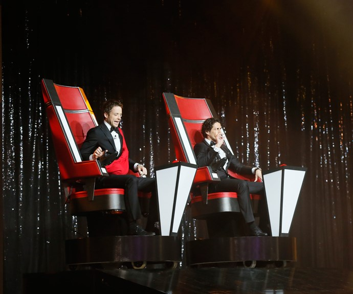 Hamish and Andy didn't host the Logies in 2013, but they did start the show by turning around on their *The Voice* inspired swivel chairs. Hamish also had his Gold Logie in a sling tied around his body. He referred to the award, which he won in 2012, as 'Little Bert'.