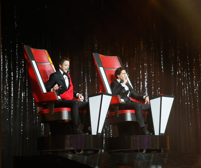 **Hamish and Andy meets *The Voice*** <br><br> Hamish and Andy didn't host the Logies in 2013, but they did start the show by turning around on their *The Voice* inspired swivel chairs. Hamish also had his Gold Logie in a sling tied around his body. He referred to the award, which he won in 2012, as 'Little Bert'.