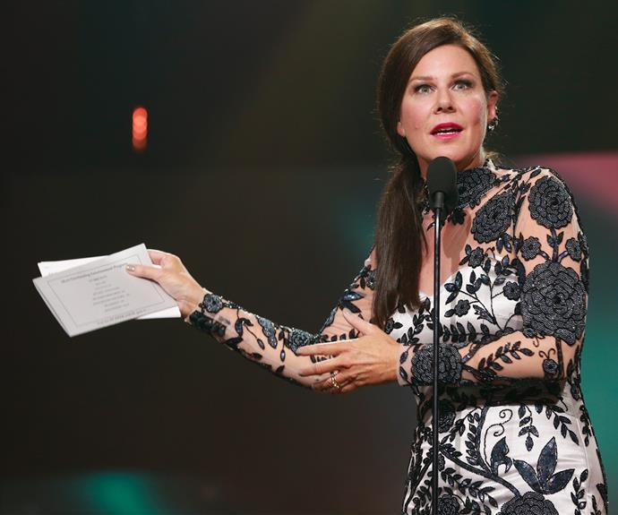 **Julia Morris' hilarious gaffe** <br><br> Julia was charged with the job of presenting the Most Outstanding Entertainment Program Logie Award in 2015, but she made a hilarious gaff when she announced the winner before she had read the list of nominees. Oops!