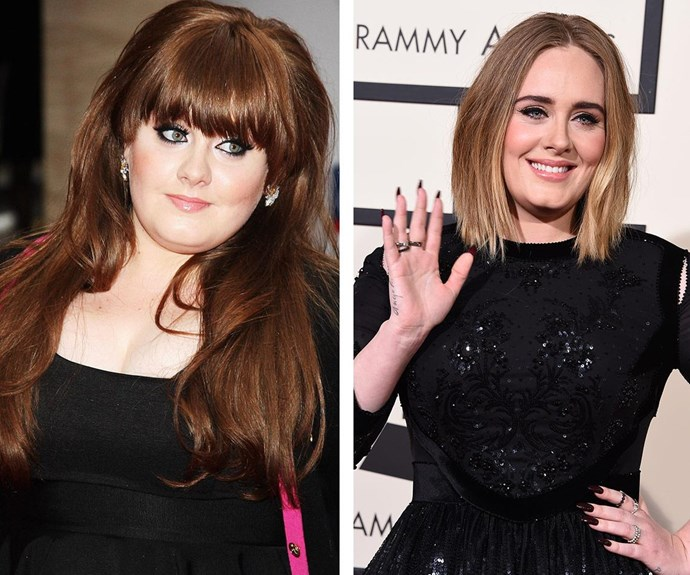 """From 2008 to 2016. [A big change](http://www.womansday.com.au/style-beauty/health-body/adele-reveals-the-secret-to-her-incredible-slimdown-15478 target=""""_blank"""" rel=""""nofollow"""") can be seen in the *Hello* songstress' figure and confidence."""