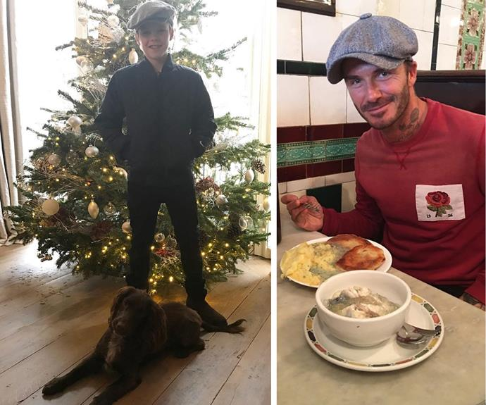 """He's captured our hearts with the best Christmas single of 2016, and now young Cruz Beckham is making us smile once again! The 11-year-old shared with his fans a peek inside his home, saying """"Christmas walk with Olive!"""" The junior Beckham definitely raided his dad's wardrobe for his very swanky beret!"""