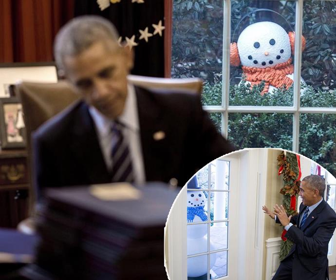 """President Obama recently revealed he had a phobia of snowmen, describing them as """"a little creepy""""... So of course the White House photographer captured the big man getting pranked by his staff. Fortunately, the president """"enjoyed the prank""""."""