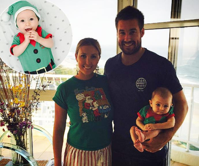 *Seven Year Switch's* Jackie and Tim are celebrating their son Chadwick Wolf's first Christmas! The tiny tot, who was born in August, has already taken on the coveted role of Santa's little helper in his pint-sized outfit.