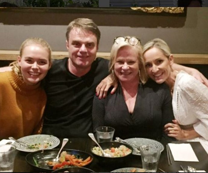 A fond farewell. Fifi's *Neighbours* co-stars, including Damien, sent her off with a special dinner.
