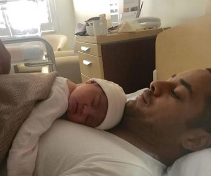 "New dad Jarryd Hayne, 28, has shared this touching first photo of his newborn daughter, who he shares with Amellia Bonnici. ""All praise to god above, for he never makes mistakes!!!! #daddysgirl,"" the smitten football star penned."