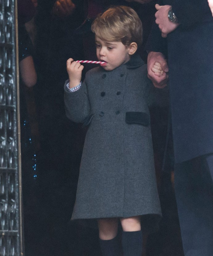 Prince George was so well behaved, he was given a candy cane at the end of the church service.