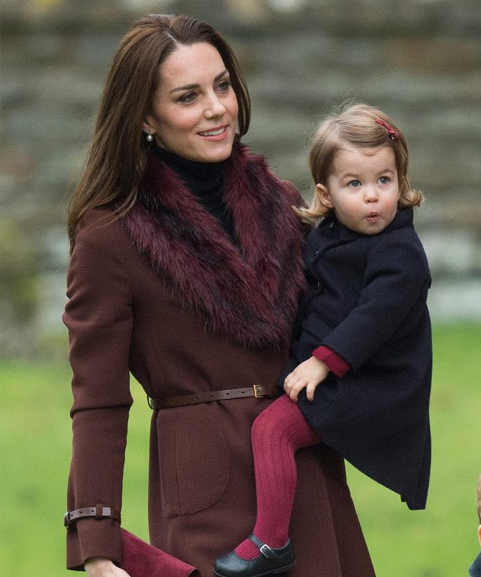 Mother-daughter style! Catherine and Charlotte worked coordinating maroon hues.