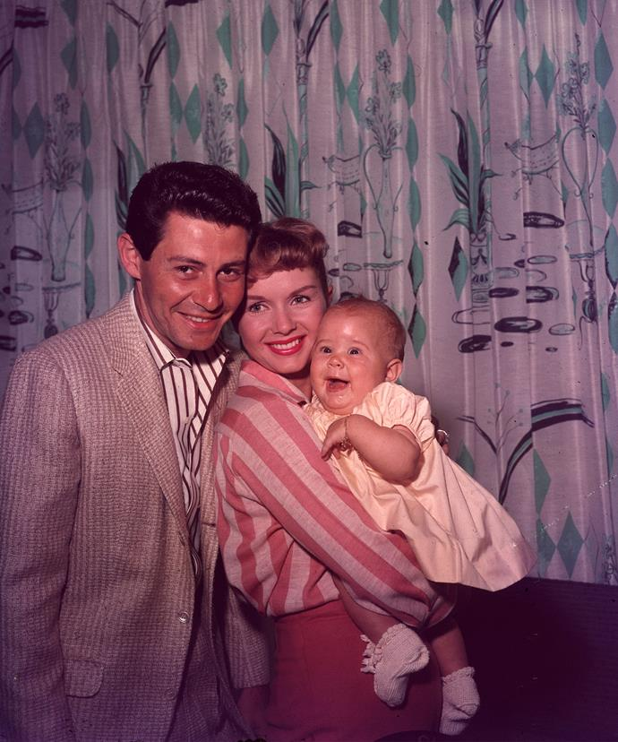 Debbie with Eddie Fisher and their daughter Carrie.
