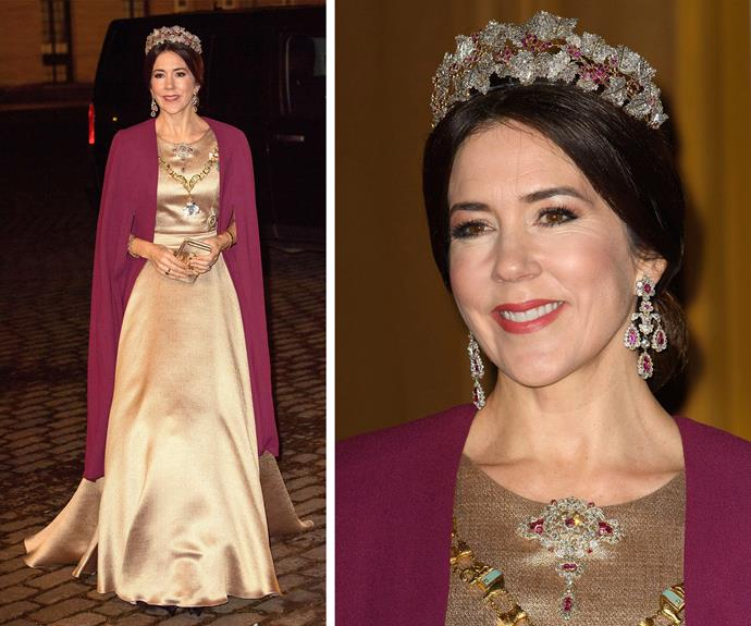 The 45-year-old is always a sight to behold. Princess Mary stunned at the Danish New Year's banquet at the Amalienborg Palace in Copenhagen.