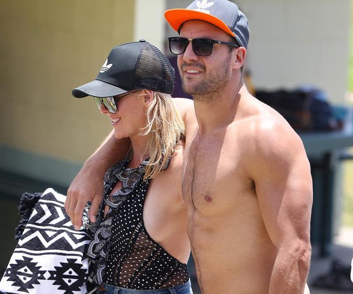 Beau Ryan hit Bronte Beach in Sydney with wife Kara.