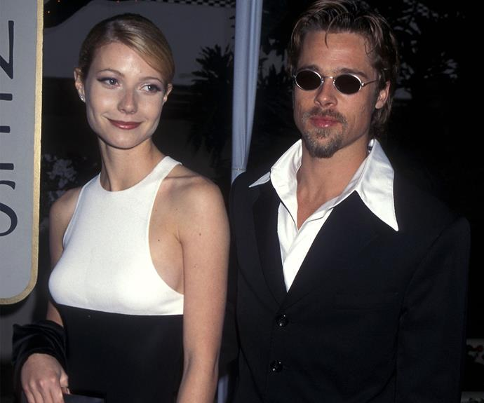 "How about those glasses, hey Brad Pitt? In 1996, Brad scored the Best Supporting Actor award for his role in *12 Monkeys* but it was his date Gwyneth Paltrow that really got people talking! During his acceptance speech, Brad beamed: ""[thank you] especially to the love of my life, my angel - Gwyneth Palrow."""