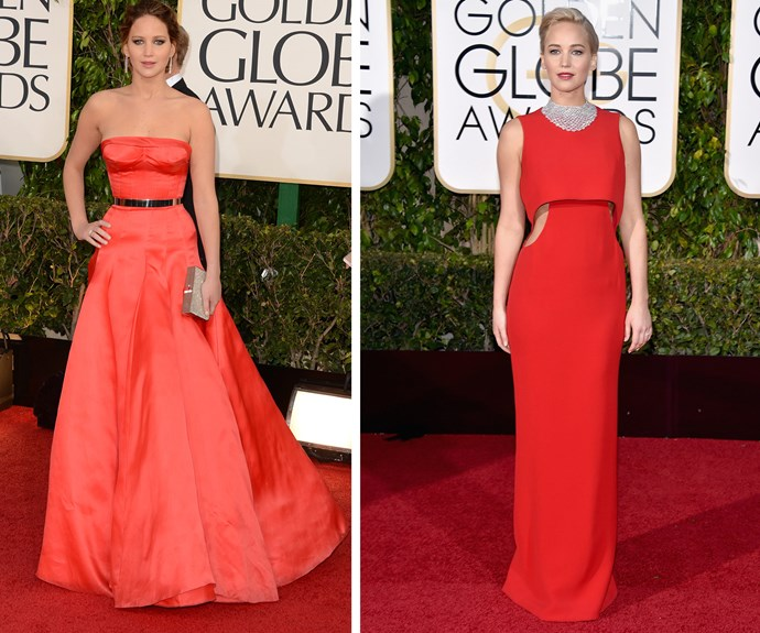 Lady in red! Jennifer Lawrence is onto a good thing.