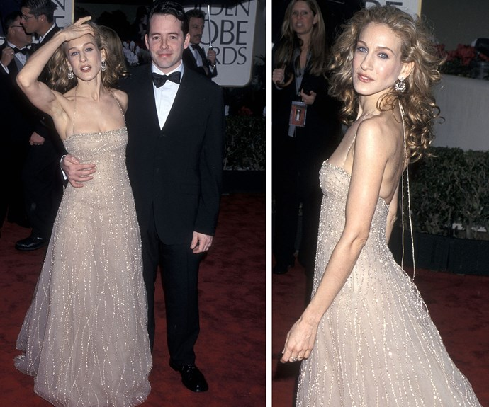 SJP, pictured with husband Matthew Broderick in 2001, is a Golden Globes queen!