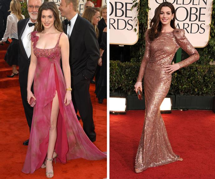 The evolution of Anne Hathaway! In 2003, the star worked a floaty gown and in 2011 she shimmered in a long-sleeved ensemble.