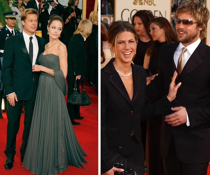 After his split from Gwyneth, Brad has walked the Golden Globes red carpet with first wife Jennifer Aniston and second wife Angelina Jolie.