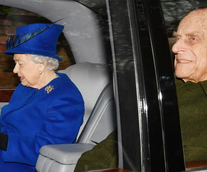 The 90-year-old seemed to be in good spirits with her husband by her side.
