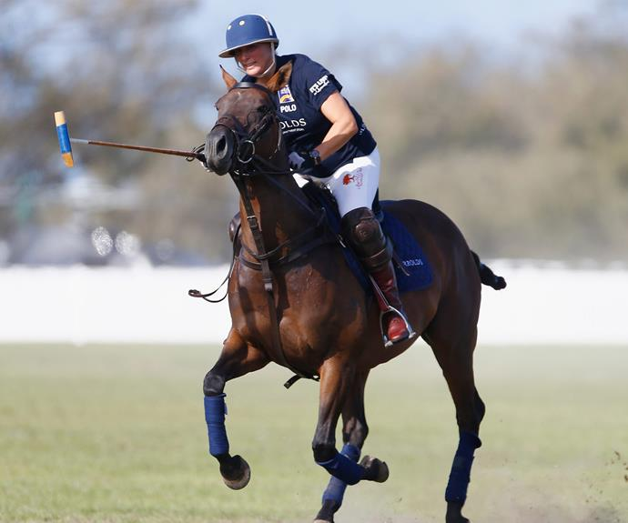 The star equestrian player took to the field for a game of polo.