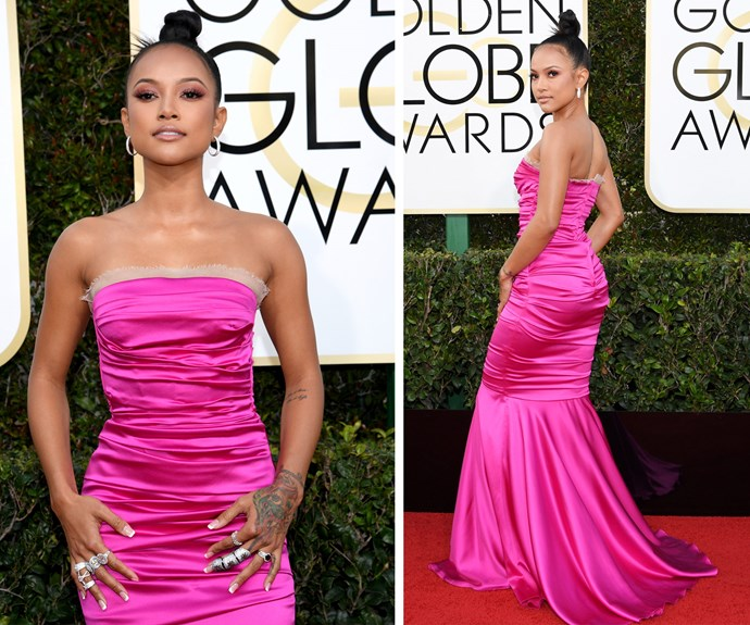 Looking very pretty in pink! Chris Brown's former flame Karrueche Tran stepped out in an '80s inspired design... We think John Hughes would give the 28-year-old a tick of approval.
