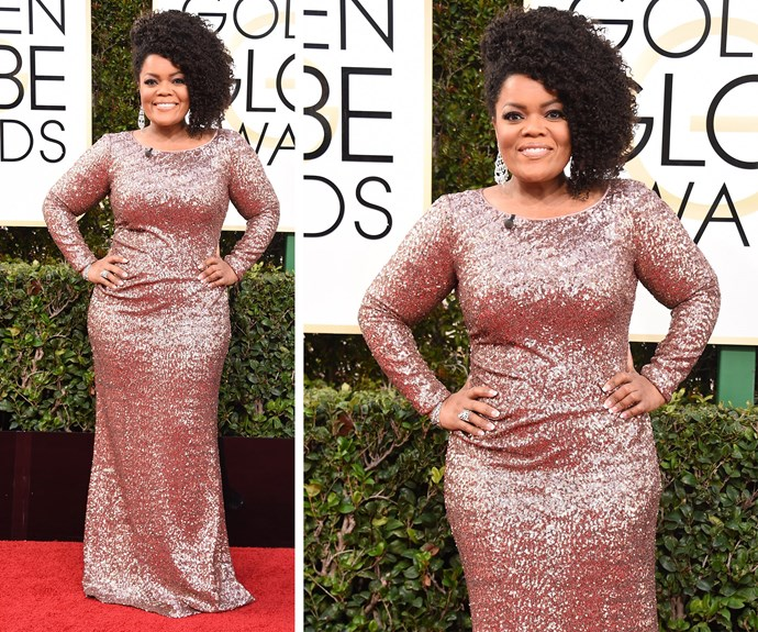 *Community* actress, Yvette Nicole Brown, sparkled in a shimmering nude ensemble.
