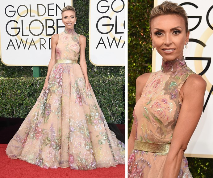 Romance is alive and kicking with Giuliana Rancic's stunning red carpet look. Channeling her inner princess, the mum-of-one is a rocking a Rani Zakhem design.