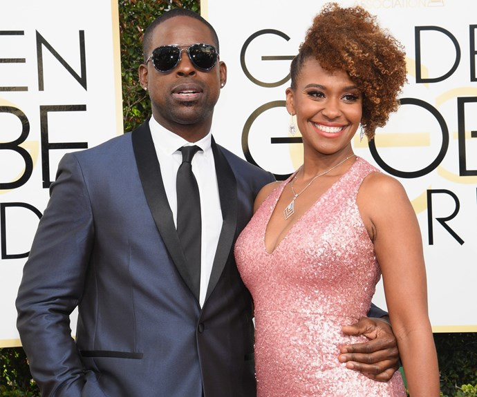 Sterling K.Brown, who cleaned up at last year's show, cuddles up to wife Ryan Michelle.
