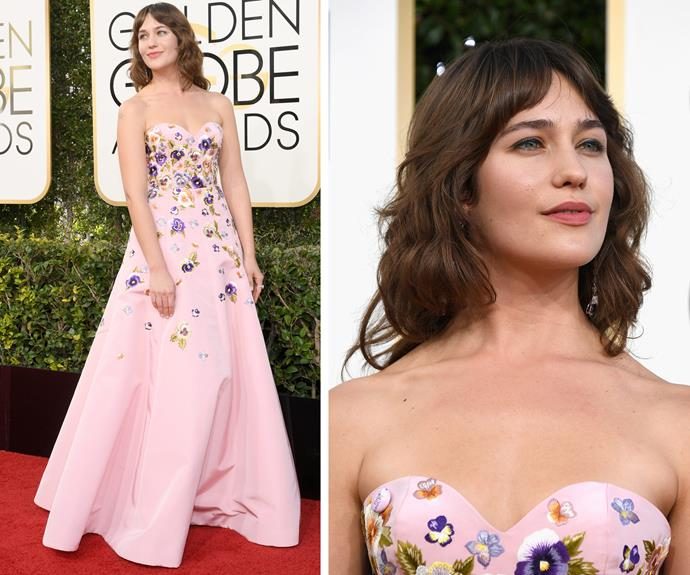 *Mozart in the Dark* star Lola Kirke is pretty in pink.