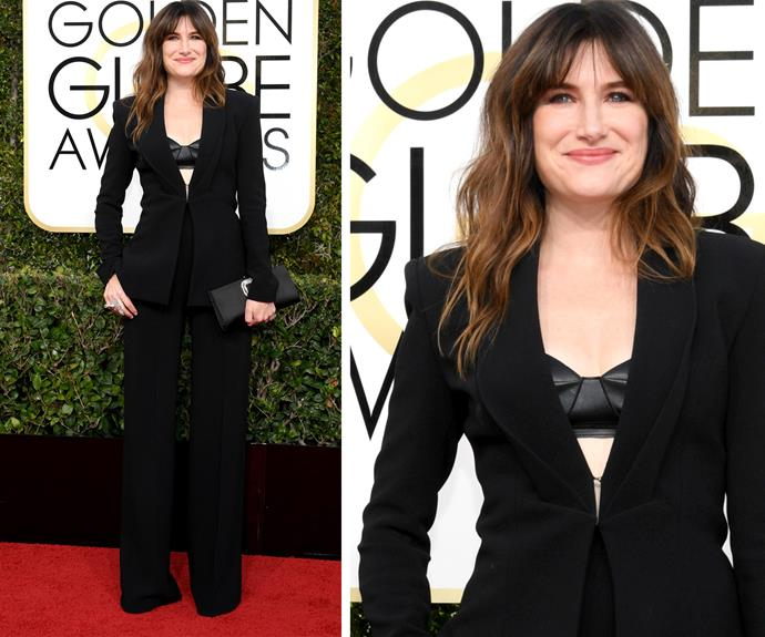 Kathryn Hahn mixed things up in a sexy black pantsuit.